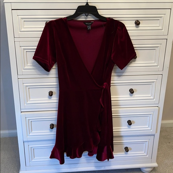 ASOS new look velvet red wrap dress burgundy